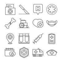 Assortment of medical and hospital pictogram line-style icons vector