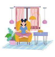 Girl in living room meditating on a chair next do a plant vector