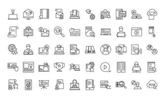 Collection of online education icons vector