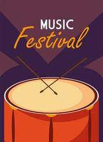 Music festival poster with drum musical instrument vector