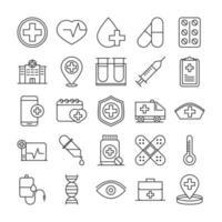 colección de iconos de estilo de línea de pictogramas médicos y hospitalarios vector