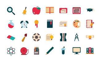 conjunto de útiles escolares y papelería iconos de diseño plano vector
