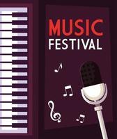 cartel del festival de música con piano y micrófono.
