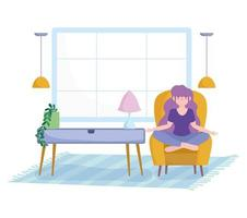 Young woman in living room meditating on a chair vector