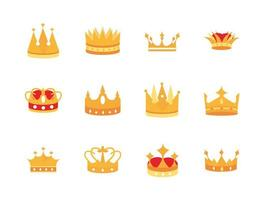 Pack of gold crowns luxury icons