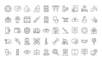 conjunto de iconos de estilo de línea de pictogramas médicos y hospitalarios vector