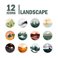 Landscape and nature circular icon collection vector