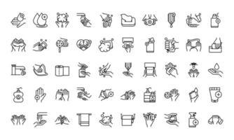 colección de iconos de higiene personal y prevención de infecciones