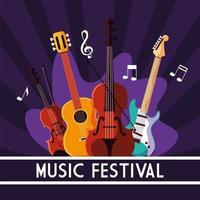 cartel del festival de música con instrumentos musicales de cuerda y notas