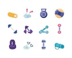 Icons set of fitness vector
