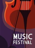 Music festival poster with fiddle vector