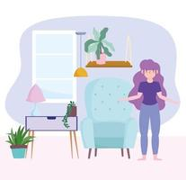Young woman in living room self isolating vector