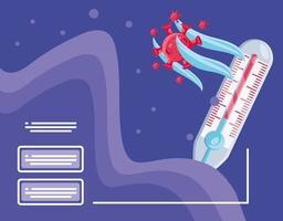 infografía con termómetro y covid 19.