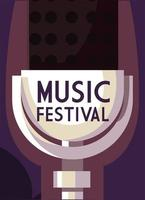 Poster music festival with microphone icon vector
