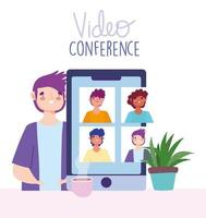 Video conference and virtual meeting via smartphone banner template vector