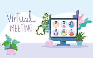 Virtual meeting and video conference banner template vector