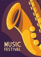 Poster music festival with saxophone vector