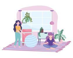 meninas fazendo atividades de quarentena dentro de casa vetor