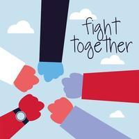 Hands in fight sign against coronavirus