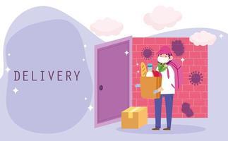 Trabajador de mensajería entregando una bolsa de comestibles y un paquete en casa
