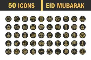 Eid Mubarak celebration traditional icon set