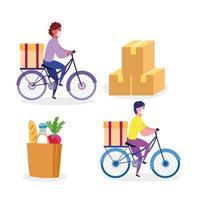 Conjunto de trabajadores de mensajería en bicicleta con paquetes y una bolsa de iconos de comestibles