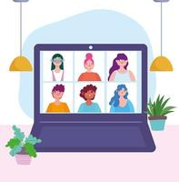 Laptop with people on a online meeting or conference  vector