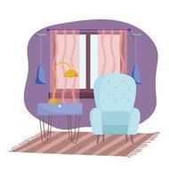 acogedora habitación y diseño de interiores con muebles. vector