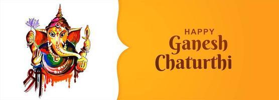 banner de tarjeta de festival de feliz ganesh chaturthi utsav