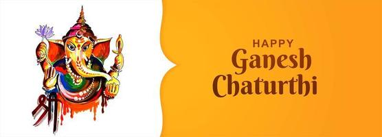 Happy Ganesh Chaturthi Utsav Festival Card Banner