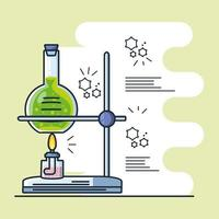 Infographic with laboratory burner and tube test