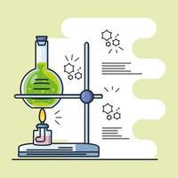 infográfico com queimador de laboratório e teste de tubo vetor
