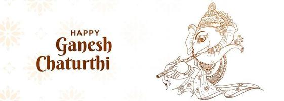 boceto artístico banner del festival ganesh chaturthi