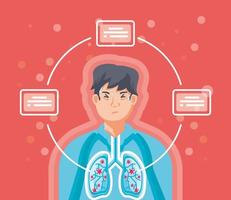 Man with the lungs affected by viruses