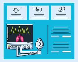 Infographic with ventilator medical machine vector