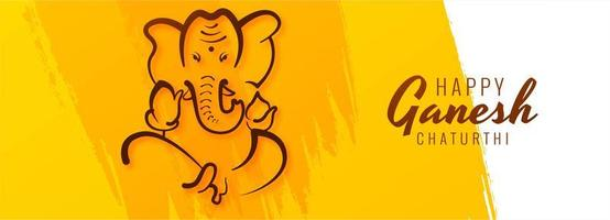 Yellow Painted Happy Ganesh Chaturthi Festival Banner