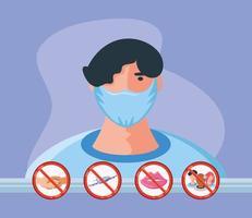 medidas de prevención para la protección contra el coronavirus vector