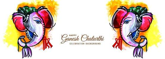 Watercolor Elephant Side View Ganesh Chaturthi Festival Banner