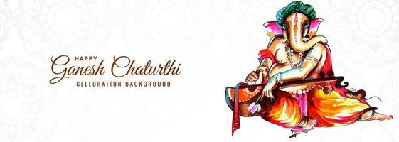 Indian Religious Festival Ganesh Chaturthi Banner Background