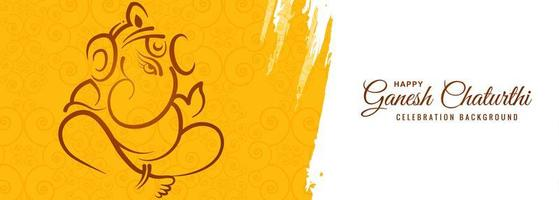 Happy Ganesh Chaturthi Yellow Paint Stroke Festival Card Banner