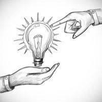 dibujado a mano nueva idea innovación y concepto de solución bombilla vector