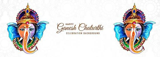 Hindu God Ganesha for Happy Ganesh Chaturthi Festival Banner