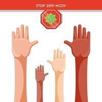 manos humanas levantadas luchando juntas contra el coronavirus vector