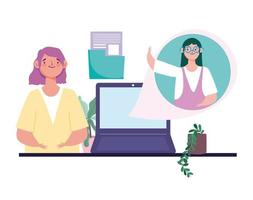 Women talking via virtual meeting and video conference vector