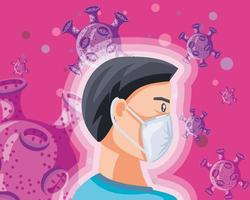 Man with medical mask protecting from coronavirus vector