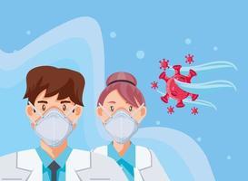 médicos con máscara médica explicando la prevención del covid 19 vector