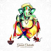 Happy Ganesh Chaturthi Indian Festival Watercolor Card vector
