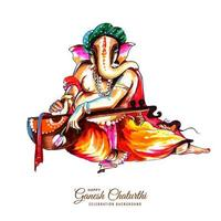 Colorful Watercolor Utsav Ganesh Chaturthi Festival Background