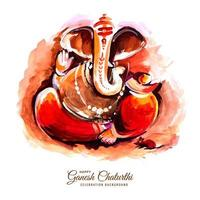 Utsav Ganesh Chaturthi Festival Red Watercolor Card Background vector