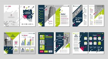 Modern geometric abstract trendy design booklet set vector